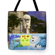 Digital Oil Painting - Statue Of The Merlion With A Banner Tote Bag