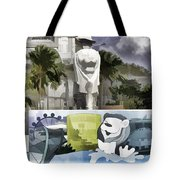 Digital Oil Painting - Statue Of The Merlion With A Banner Below The Statue And With Bu Tote Bag