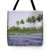 Digital Oil Painting - Water Rippling In The Coastal Lagoon Due To The Boat Tote Bag