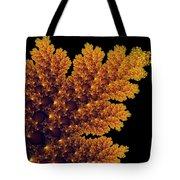 Digital Warm Golden Fractal Leaf Black Background Tote Bag