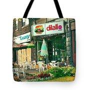 Dilallo Burger Diner Paintings Originalclassic Vintage Burger Joint St Henri St Catherine Cityscene  Tote Bag