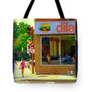 Dilallo Notre Dame Ouest And Charlevoix Sunny Street Montreal Urban City Scene Carole Spandau Tote Bag