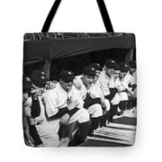 Dimaggio In Yankee Dugout Tote Bag by Underwood Archives