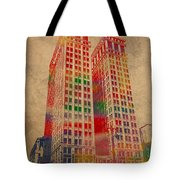 Dime Building Iconic Buildings Of Detroit Watercolor On Worn Canvas Series Number 1 Tote Bag
