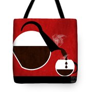 Diner Coffee Pot And Cup Red Pouring Tote Bag