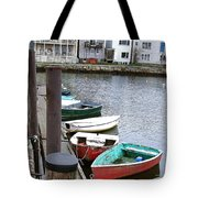 Dinghies Wait At The Pier Tote Bag