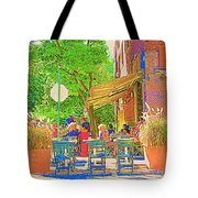 Dinner On The Terrace Le Murphy Boire Et Manger French Bistro Montreal Cafe Street Scene Tote Bag