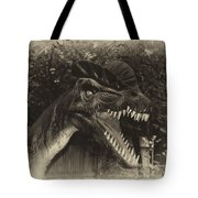 Dino's At The Zoo Come Here Cameraman In Heirloom Finish Tote Bag