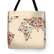 Dinosaur Map Of The World  Tote Bag