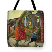 Dinosaur Mum Out Shopping With Son Tote Bag