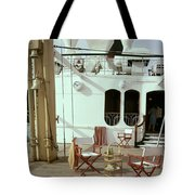 Directors Chairs In Front Of The Ship The Queen Tote Bag