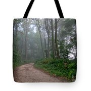 Dirt Path In Forest Woods With Mist Tote Bag