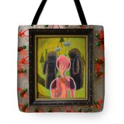 Disappearance Of The Woman And Her Own Two Stone Children With Clouds On Wheels - Framed Tote Bag
