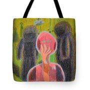 Disappearance Of The Woman And Her Own Two Stone Children With Clouds On Wheels Tote Bag