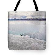 Disintegrating Candelized Melting Ice On Lake Shore Tote Bag