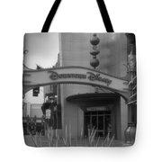 Disneyland Downtown Disney Signage 03 Bw Tote Bag
