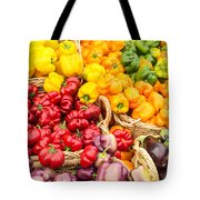 Display Of Fresh Vegetables At The Market Tote Bag