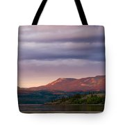 Distant Yukon Mountains Glowing In Sunset Light Tote Bag