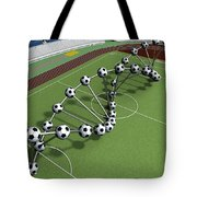 Dna String Of Soccer Player On The Field Of Stadium Tote Bag