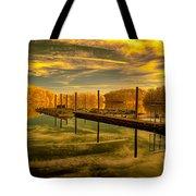 Dock Reflections-golden Tote Bag