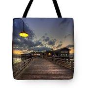 Dock Lights At Jekyll Island Tote Bag by Debra and Dave Vanderlaan