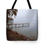 Dock On A Lake In Autumn Tote Bag