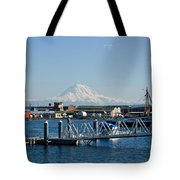 Dock View Of Mt. Rainier Tote Bag