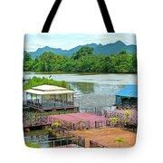 Docking Area On River Kwai In Kanchanaburi-thailand Tote Bag