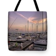 Dockside Sunset In Beaufort South Carolina Tote Bag by Reid Callaway