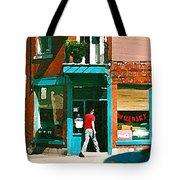 Documenting Vintage Montreal Depanneur Deli Wilensky Montreal Restaurant Paintings Cspandau  Art Tote Bag