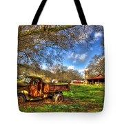 Dodge Dump Truck Farm Barn Scene Tote Bag