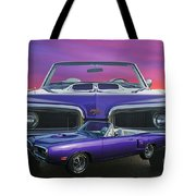 Dodge Rt Double Exposure Purple Sunset Tote Bag