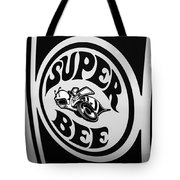 Dodge Super Bee Decal Black And White Picture Tote Bag