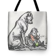 Dog And Child Tote Bag by Robert Noir