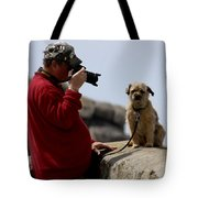 Dog Being Photographed Tote Bag