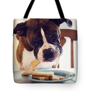 Dog Eating Biscuits At Table Tote Bag