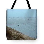 Dog In Icy Water Tote Bag