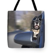 Dog In The Car Window Tote Bag