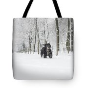 Dog Running In The Snow Tote Bag