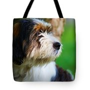 Dog Sitting Next To A Tree Tote Bag