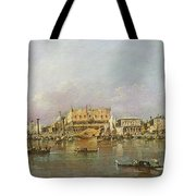 Doges Palace And View Of St. Marks Basin, Venice Oil On Canvas Tote Bag