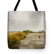 Dogs And Truck On A Muddy Dirt Road Tote Bag