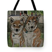 Dogs In Front Of The Gulf Station Tote Bag
