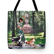 Dogs Lay At Her Feet Tote Bag