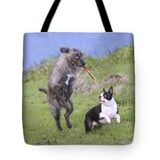 Dogs Playing With Stick Tote Bag