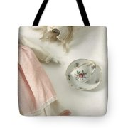 Doll With Tea Cup Tote Bag