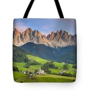 Dolomites From Val Di Funes Tote Bag