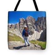 Dolomiti - Hiker In Sella Mount Tote Bag