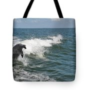 Dolphin In Waves Tote Bag