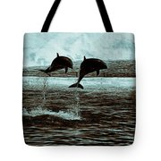 Dolphin Pair-in The Air Tote Bag